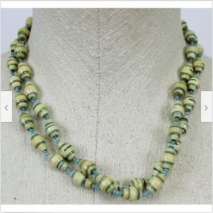 Tan Blue Striped Beaded Necklace Set Duo